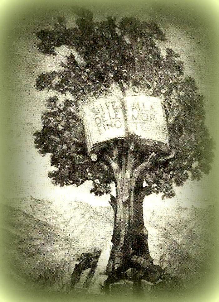 """De Waldenzenkerk voorgesteld als een Eik die haar wortels slaat door de rotachtige grond. In de boom: een opengeslagen Bijbel met de woorden: """"Wees getrouw tot het einde""""  Openbaring  2:10  Onder de boom de tekst uit jesaja51:1: Aanschouw de Rots waaruit gij gehouwen zijt"""".  Afbeelding in het Synodegebouw te Casa Valdese."""