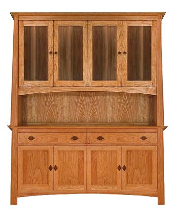 All Natural Cherry Wood China Cabinet Buffet Hutch Sideboard