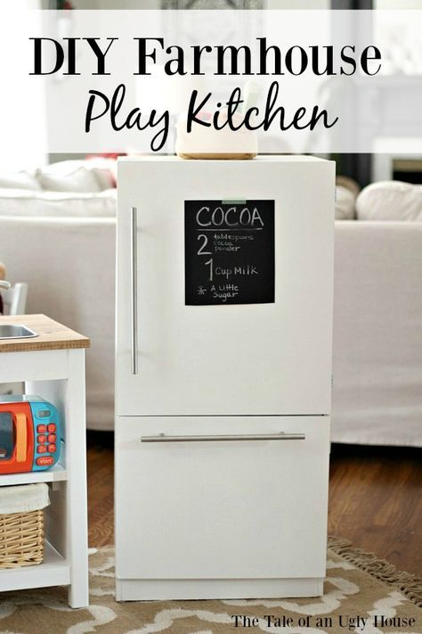 DIY Farmhouse style play kitchen. Pottery Barn Hack.