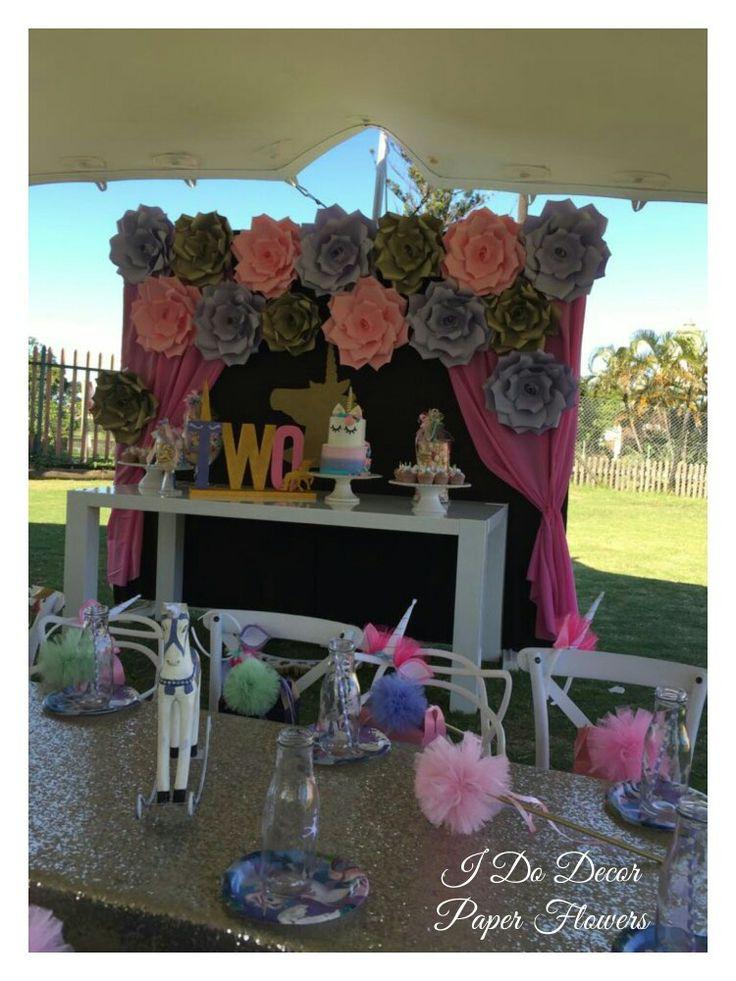 Unicorn kids birthday party, durban paper flowers