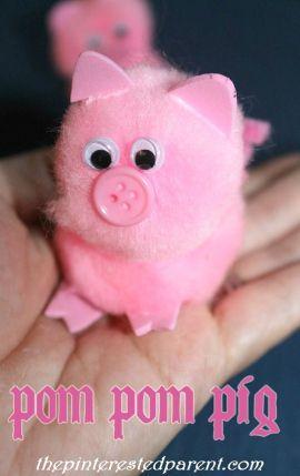 Pom Pom Pig Craft - Adorable crafts for kids