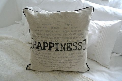 Linen Happiness Cushion - Divine Shabby Chic