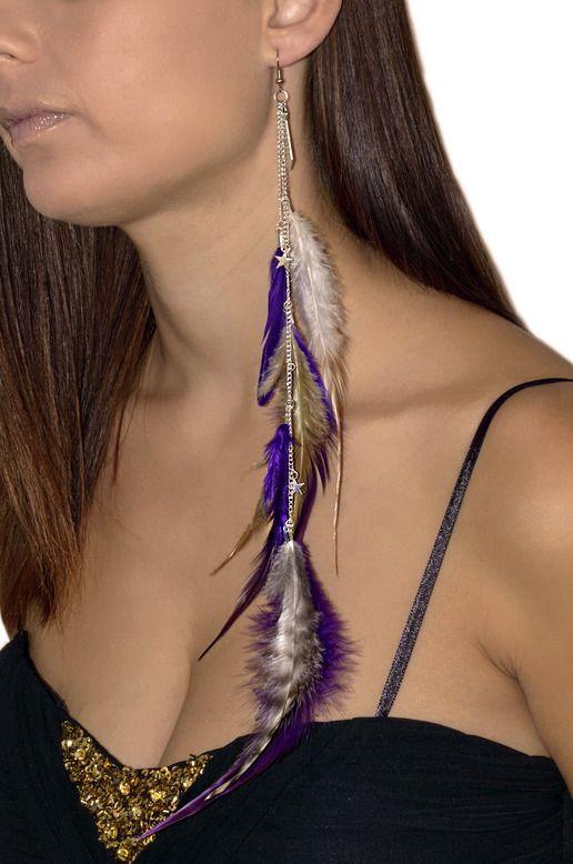 Boucle d'oreille pendante en plume violettes noires et blanches : Boucles d'oreille par les-bijoux-de-petiteauguai