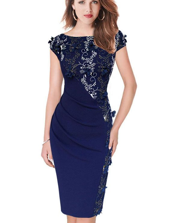 5ed57656111ab Womens Dress Elegant Embroidery Fashion Casual Party Evening Special ...