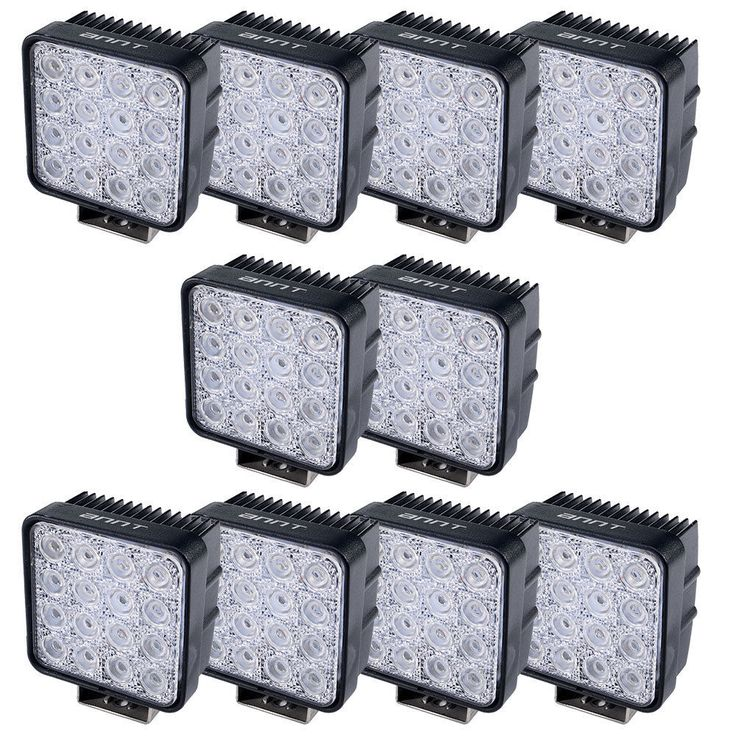 10x 48W Flood Beam LED Work Light Bar for Offroads SUV Truck Tractor 4WD 12/24V #Unbranded