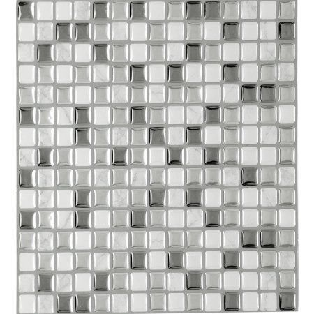 Magic Gel Silver Glass 9.125x9.125 Self Adhesive Vinyl Wall Tile, 3 Tiles/10.41 sq ft