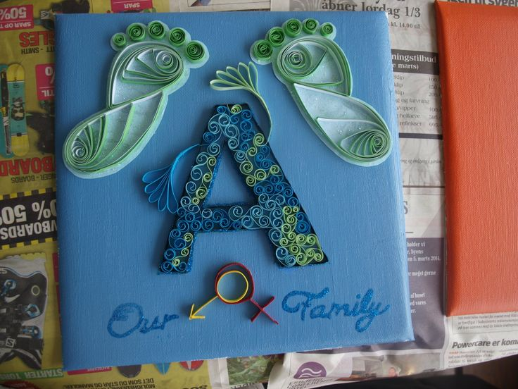 paper quilling painting for my stepsisters newborn. The reason I made the MALE sign through the FEMALE sign is because I thought of the male penetrating the female. -Louise Mirabilis