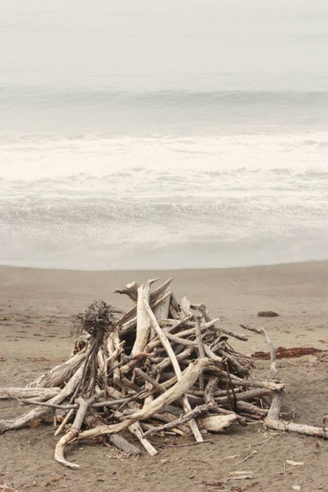 This will tie in nicely to using hints of driftwood at reception. Ooooo...save some of the pieces of burned wood for use later - momentos, favors.  Bring K to this for sure...I sense a beach bonfire coming on...