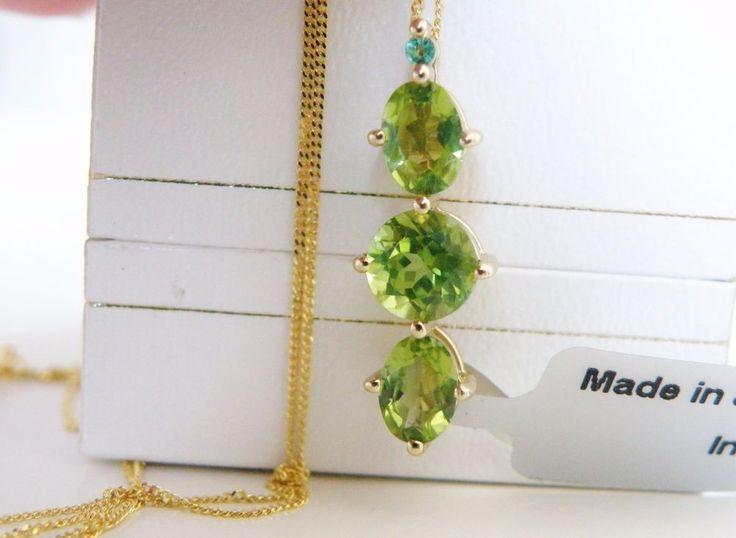New Genuine Peridot Emerald 14K SS Pendant 585 14K GOLD Chain Necklace #Designer #Chain#14kgoldjewelry #Peridot #Emerald #Gemstone #14KGold #14KYellowGoldJewelry #GemstonePendant #QVC #HSN #Gemporia #JTV
