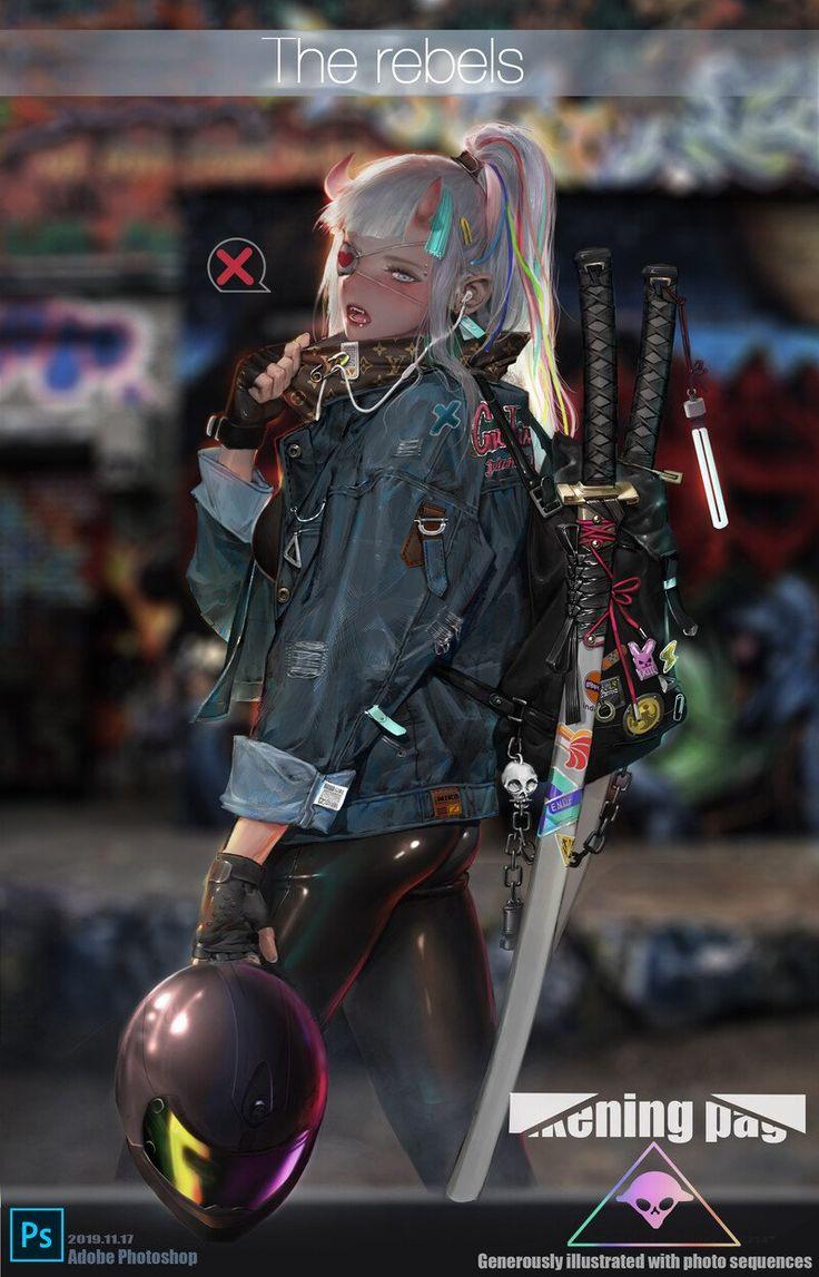 ArtStation (已售), Crooked monkey in 2020 Cyberpunk girl