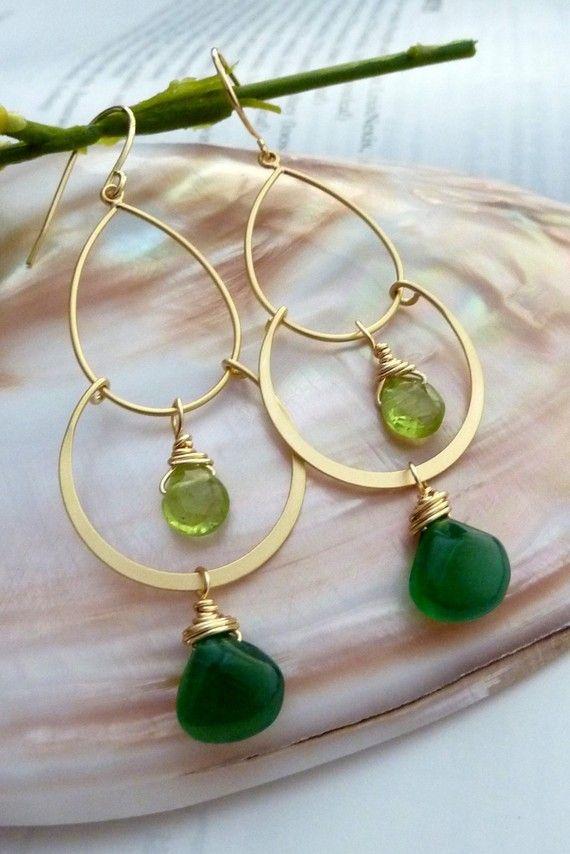 Green Onyx Peridot Golden 2 Hoops Chandelier by JCGemsJewelry, $32.80