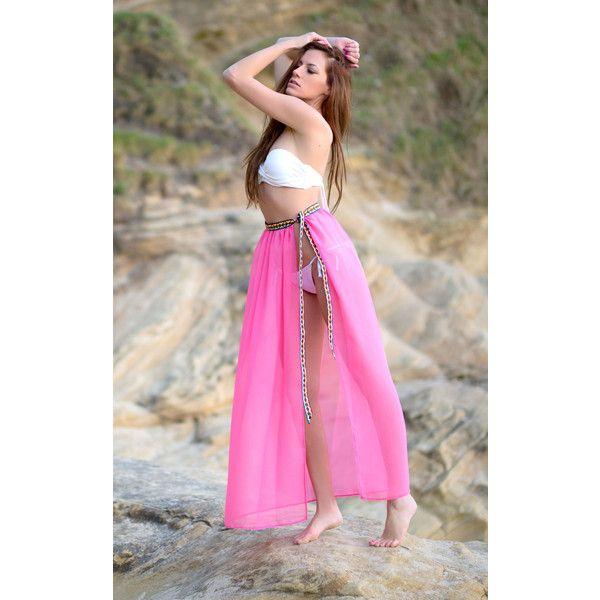 Natasha Kieran Coral Sarong Skirt ($35) ❤ liked on Polyvore featuring skirts, pink, multicolor skirt, colorful skirts, aztec print skirt, multi colored skirt and multi color skirt