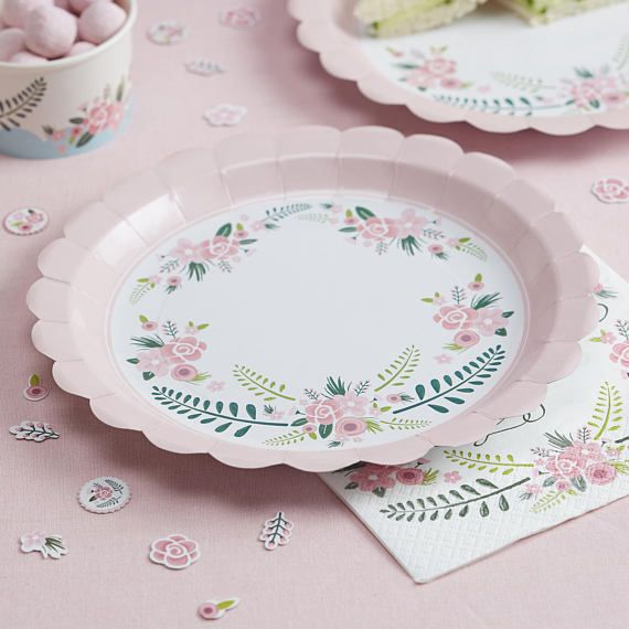 Pink Floral Paper Plates Wedding Plates Baby Shower Plates