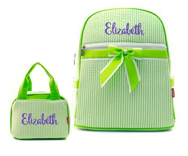 """Matching Backpack Lunch Bag Personalized Seersucker Lime Green 15"""" Quilted Backpack"""