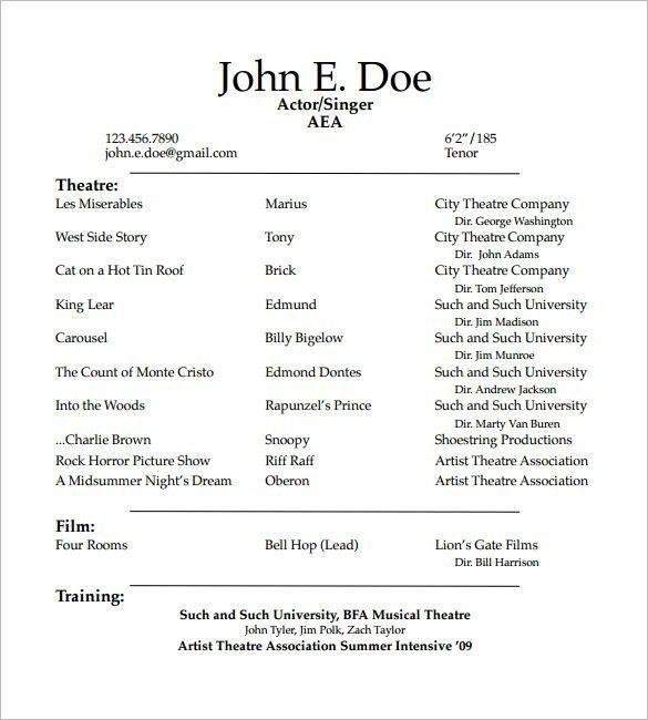 Theatre Resume Template Di 2020