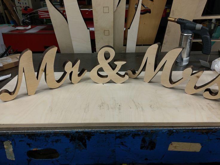 Laser Cut Mr & Mrs sign