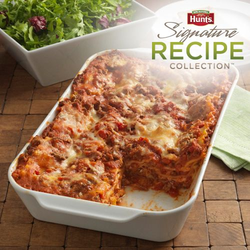Hearty lasagna recipe with a ground beef meat sauce and three cheeses layered with uncooked lasagna noodles to save some work