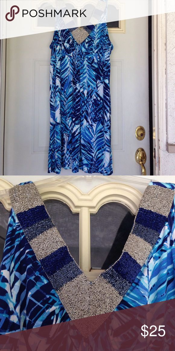 """Mint condition 3x Blue and White Style&Co Dress Stunning summer dress with blues and white colors. V neck is embellished with perfect detail beads in silver and blues. Only wore once on vacation. Empire waist 23"""" length 41"""" Style & Co Dresses"""