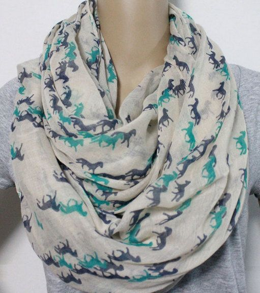 Free Shipping Infinity Horse Pattern Scarf Viscose Women Scarf  Women Mother Gift Scarves Summer Spring Scarf  Women Scarf with Horse Animal by FlowersButterflies15 on Etsy