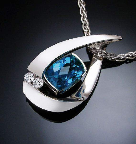 London blue topaz necklace white sapphires Argentium silver