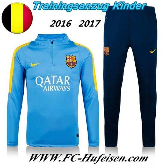 Schönsten Neue Fußball Trainingsanzug FC Barcelona Kinder Kits Blau 2016 2017 Meaney