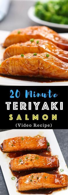 The easiest most unbelievably delicious Teriyaki Salmon. And itll be on your dinner table in just 20 minutes. All you need is only a few ingredients: salmon soy sauce mirin white wine and sugar. One of the best Asian dinner ideas! Served with rice and broccoli. Quick and easy dinner recipe. Video recipe.   Tipbuzz.com