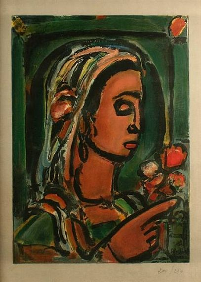 Georges Rouault, Head of a woman with bouquet of flowers