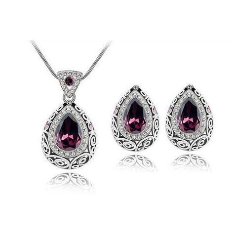 Vintage Style Amethyst Genuine Australian Crystal Necklace & Earring Set - UCHARMME.co.nz