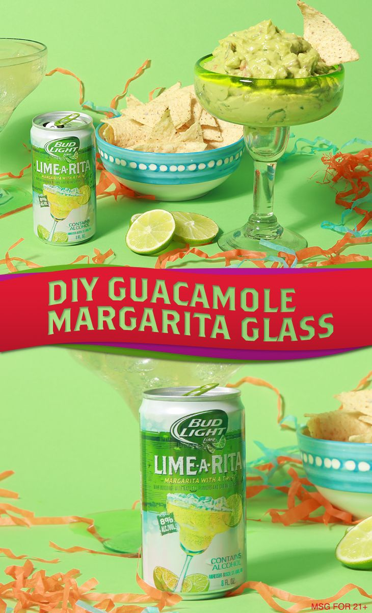 What Cinco de Mayo fiesta is complete without some guac and festive margarita glasses? Combine the best of both worlds by serving guacamole in margarita glasses at your next party. It adds that boost of fiesta flair when in a pinch. So, try this DIY Guacamole Margarita Glass hack at your next party. Obvi, this guac is best paired with an iced cold Bud Light Lime-A-Rita ;) Happy Cinco de Mayo!