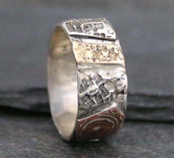 Unusual Wedding Ring Textured Organic Wide Band Unique Men S Wedding Band No Stone Mixed Meta Unusual Wedding Rings Mens Wedding Bands Unique Trendy Wedding