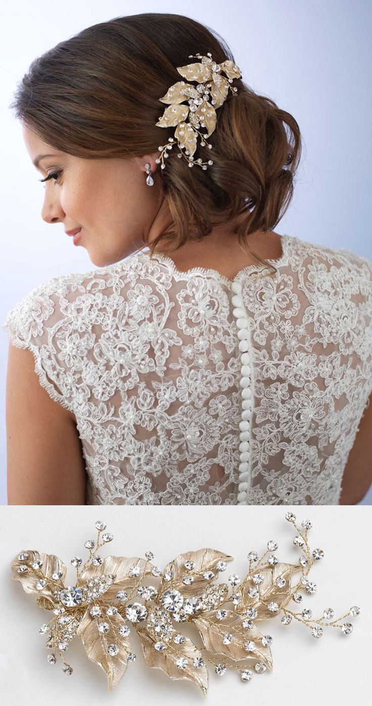Gorgeous bridal side bun accented with an enchanting gold leaf clip for added sparkle <3