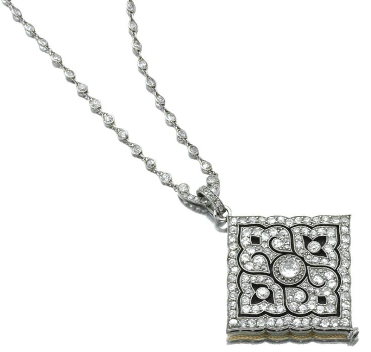 DIAMOND AND ENAMEL PENDANT/WATCH, CARTIER, PARIS, CIRCA 1915. The case decorated with an open work floral medallion set with circular- and rose-cut diamonds, the squared guilloché enamel dial applied with black Roman numerals and blued steel moon-style hands within a gold and white enamel frame of scroll motif, dial signed Cartier, Paris; together with a fine chain collet-set with single- and circular-cut diamonds, length approximately 600mm.