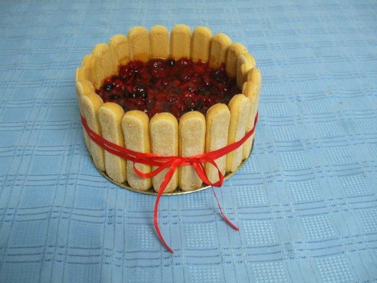 Ladyfinger joghurt and fruit cake