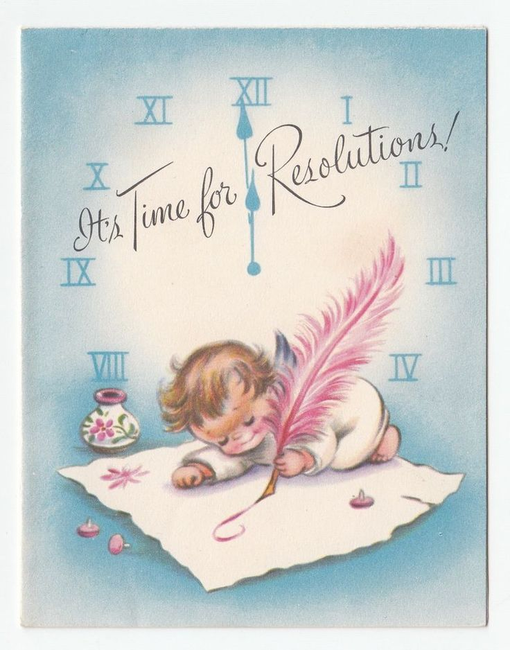Vintage Greeting Card Rust Craft Angel Happy New Year