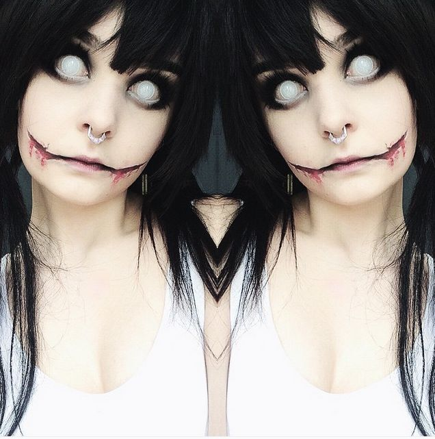 @milkwhore - instagram, jeff the killer, halloween, makeup tutorial, makeup transformation, chelsea smile, septum, alternative, black hair