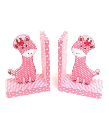 Take a look at this Pink Giraffe Fabric Bookend - Set of Two by Concepts on #zulily today!