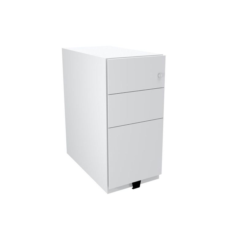 the bisley slimline white three drawer pedestal gives you two generous stationery drawers and one foolscap filing drawer for next working day delivery