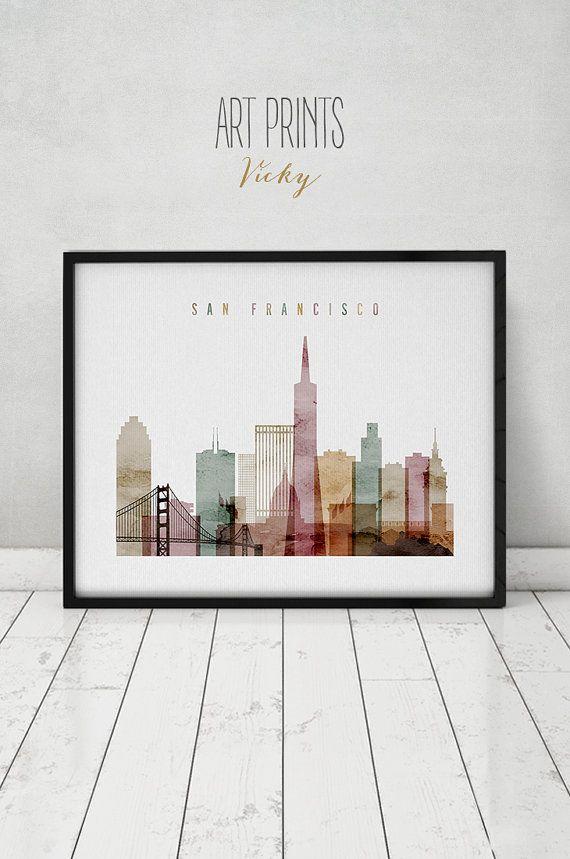 San Francisco Aquarell print, Plakat, Wandkunst, Skyline von San Francisco, Städte Poster, Typografie Kunst, digitale Aquarell, Kunst Drucke VICKY