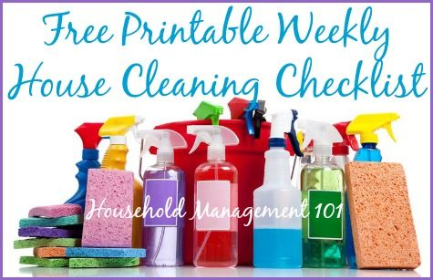 Free printable weekly house cleaning checklist to help you make sure you're hitting all the most important spots in your weekly cleaning schedule {on Household Management 101}