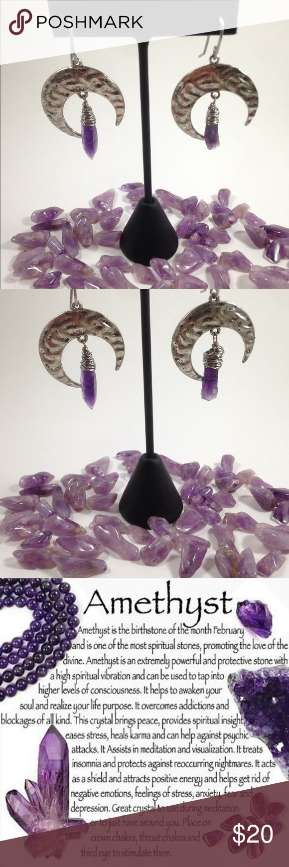 Raw Amethyst Moon Earrings 🔮 Amethyst stones are natural stress relievers with healing properties that rid negative energy and encourage inner strength, wealth, and clarity of the mind.  🔮 Stainless steel hooks and wire  🔮 Pure, Raw Amethysts  🔮 Zinc alloy moon charms Soft.Metal.Alchemist Jewelry Earrings