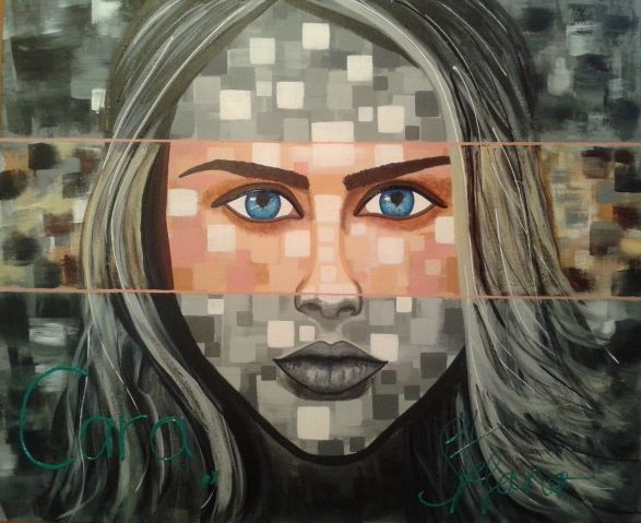Cara by STEFANO acrylic on canvas fashion art Cara Delevigne 2015 acrylic,painting,portrait,painter,fashion,fashion art,supermodel,model,cara delelevigne,