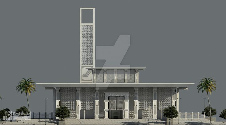 Modon Mosque - Entrance Elevation by Pixel--Studio