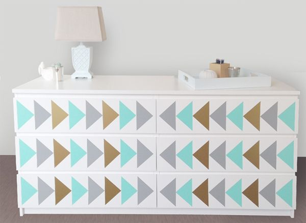 Triangle nursery design decals dresser decals fit any malm ikea dresser ikea hack triangle project nursery trend nursery decor