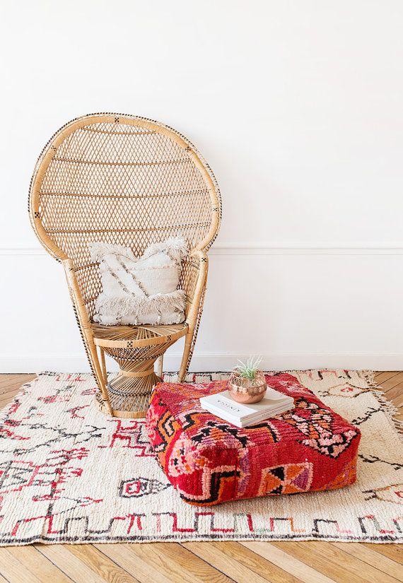 Jahrgang marokkanischen Kelim Hocker, daisies Hocker, Boden Kissen, Kissen, Kelim-Kissen, Boho-Kissen, böhmische Decor, Dekorative Kissen, Yoga Kissen
