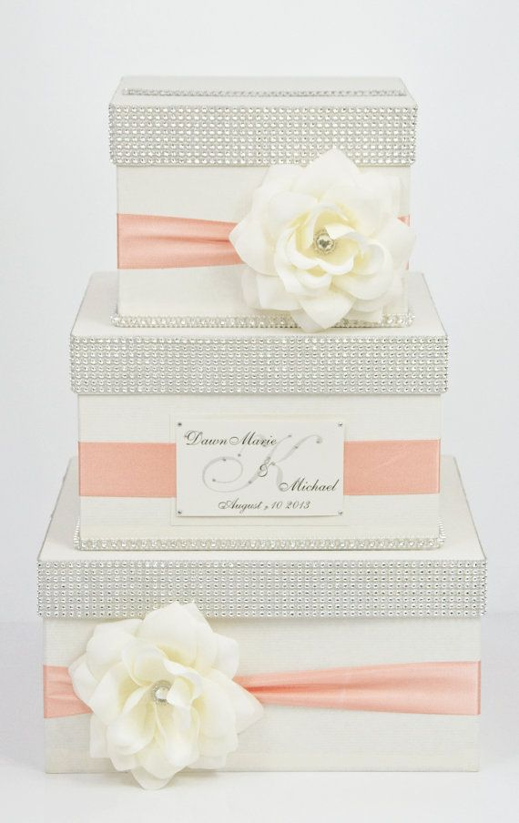Exclusive handmade 3 tier card box with personalized. Beautiful and original Makes an impression on each.  Box measures: 18 x 12  After order i need Bridal,Groom name and wedding date.  If you want different colour or size please contact us. Ribbon colour change no cost.  Delivery time 12-14 days.  I can create pillow, guest book, basket girl in the same style.  You can check my reviews here https://www.etsy.com/your/shops/DiamondDecor/reviews?ref=shop_info