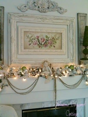 #Christmas #cottage #Shabby Chic #Holiday #Decoration #Ideas #Fireplace #Mantel Roses Vintage white french county
