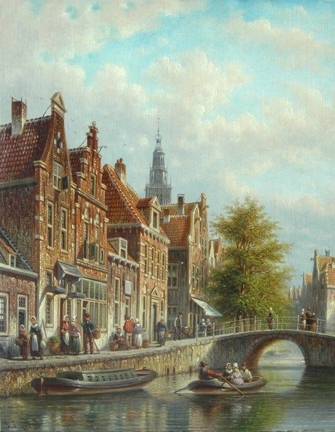 Johannes Franciscus Spohler (Rotterdam 1853-1894 Amsterdam) Dutch canal with the tower of the Waag, Alkmaar - Dutch Art Gallery Simonis and Buunk Ede, Netherlands.