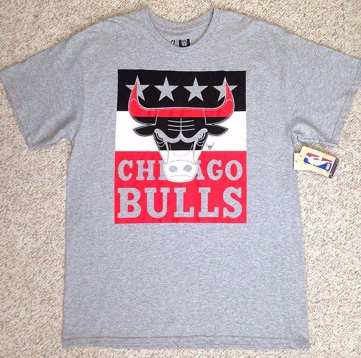NEW Mens-Adult-Large CHICAGO CITY FLAG BULLS T-SHIRT Heather-Gray NBA-store NWT #NBAStore #ChicagoBulls