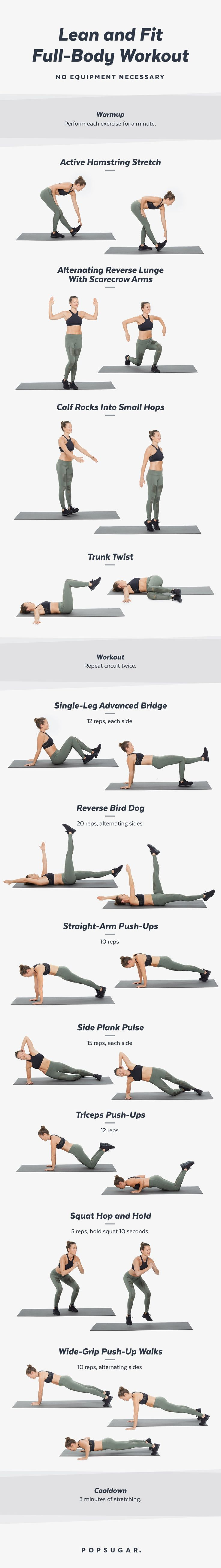 20-Minute Bodyweight Workout Video POPSUGAR Fitness