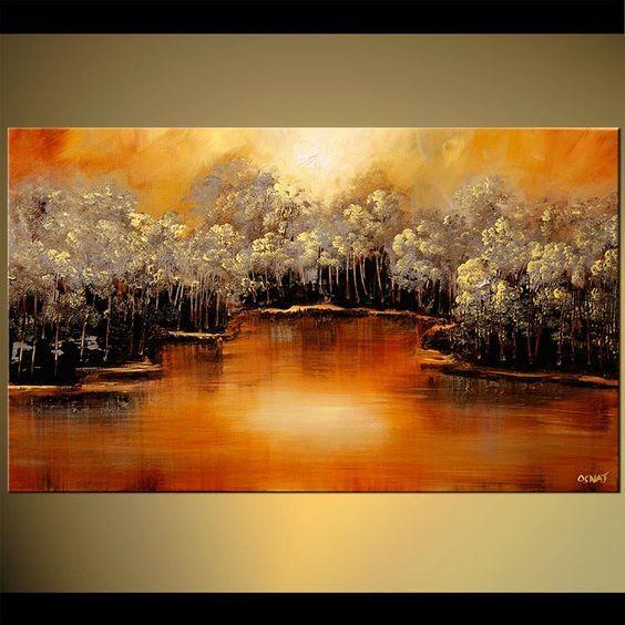 Původní abstraktní umění malby Osnat - hustý les na břehu řeky nástěnné malby:
